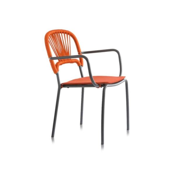 Moyo A Int Armchair with weave and rope back DeFrae Contract Furniture Orange side