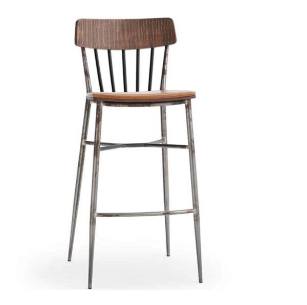 Naika Bar Stool Spindle Back DeFrae Contract Furniture Right Front