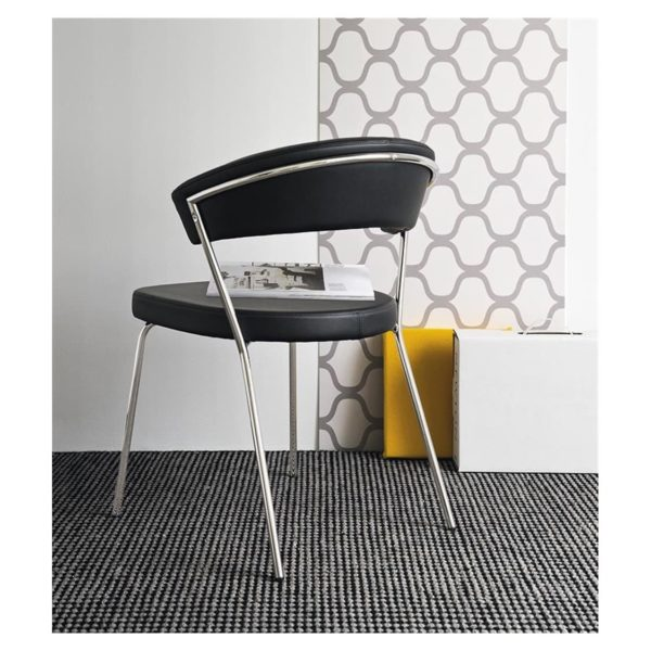 New York Armchair Curved Back Chrome 4 leg base Calligaris at DeFrae Contract Furniture Faux Leather Black