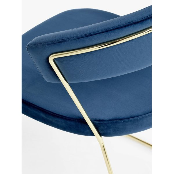 New York Armchair Curved Back Gold Sled Base Calligaris at DeFrae Contract Furniture Velvet Blue Close Up