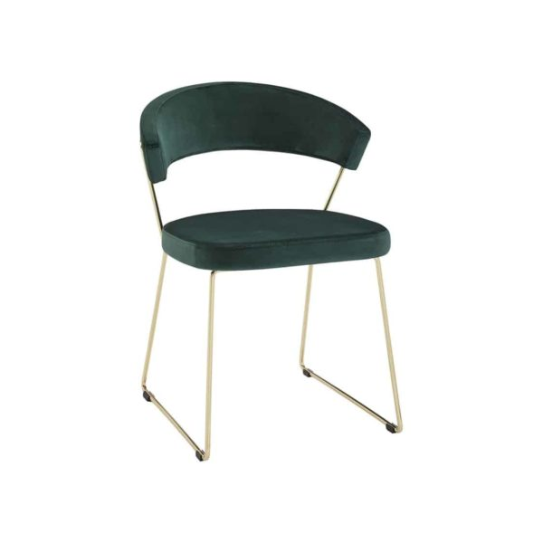 New York Armchair Curved Back Gold Sled Base Calligaris at DeFrae Contract Furniture Velvet Green
