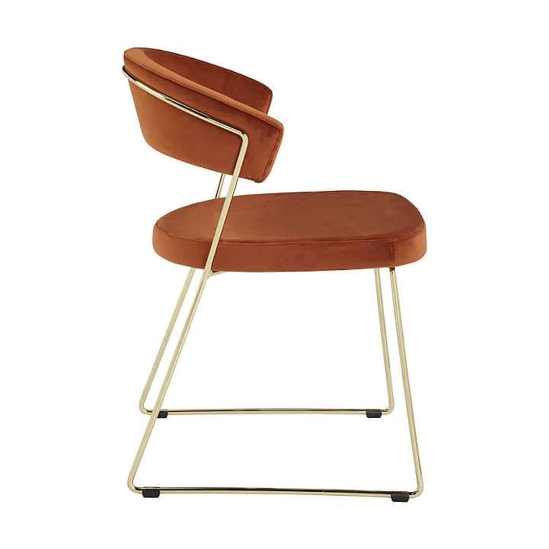 New York Armchair Curved Back Gold Sled Base Calligaris at DeFrae Contract Furniture Velvet Rust