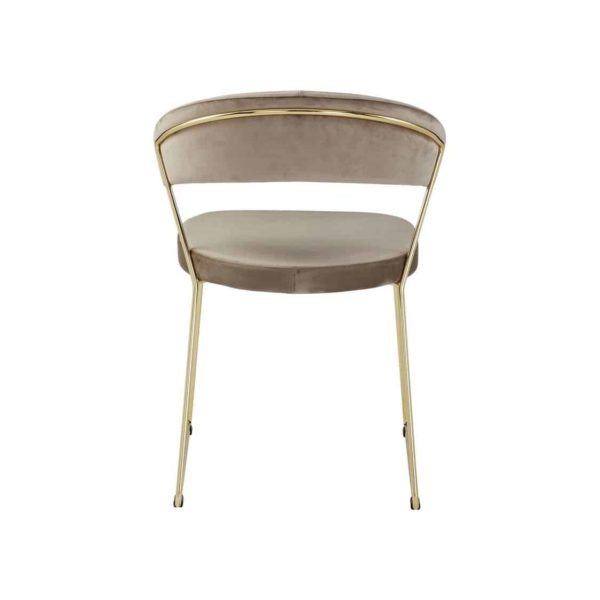 New York Armchair Curved Back Gold Sled Base Calligaris at DeFrae Contract Furniture Velvet Sand Back