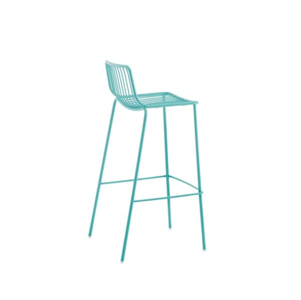 Nolita Bar stool 3658 Pedrali at DeFrae Cyan Blue Side Back