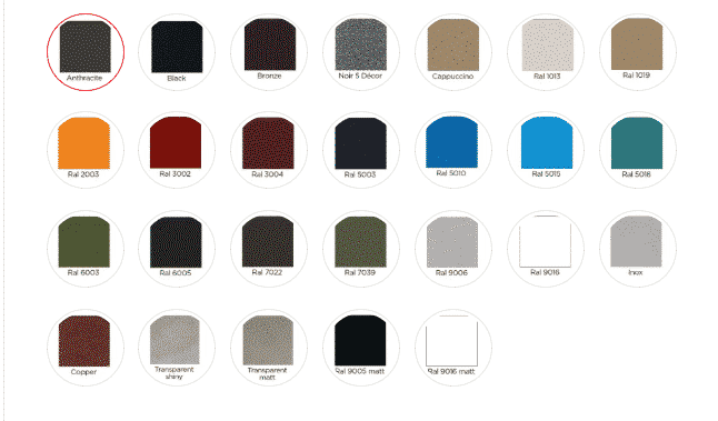 Oyster Metal Frame Colour Options
