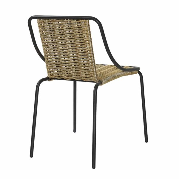 Oyster Woven Side Chair DeFrae Contract Furniture Natural Back View