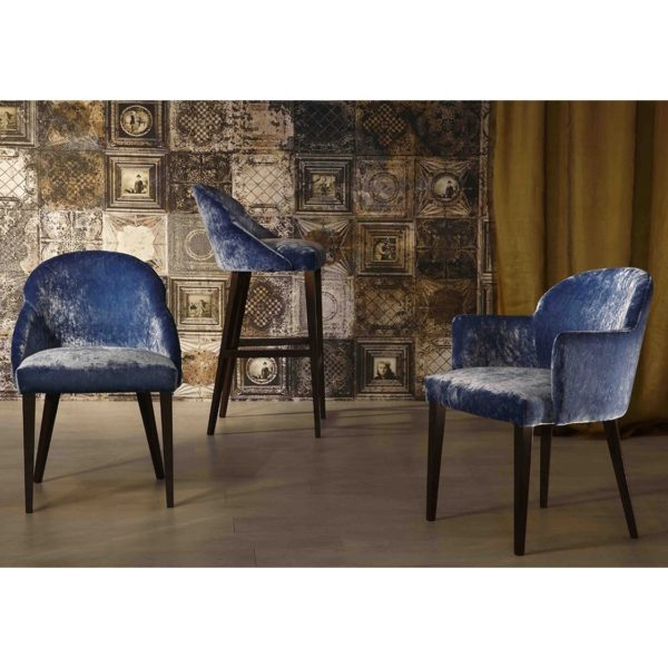 Paris S Side Chair ContractIn Available From DeFrae Contract Furniture Blue Velvet Wood Frame