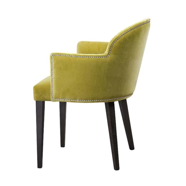Paris S1 Armchair Contrat IN Available From DeFrae Contract Furniture Mustard Velvet Wood Frame