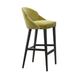 Paris S1 Bar Stool Contrat IN Available From DeFrae Contract Furniture Mustard Velvet Wood Frame