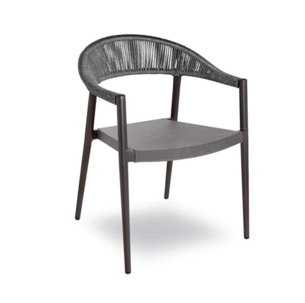 Praque woven outdoor chairs available from DeFrae Contract Furniture Anthracite