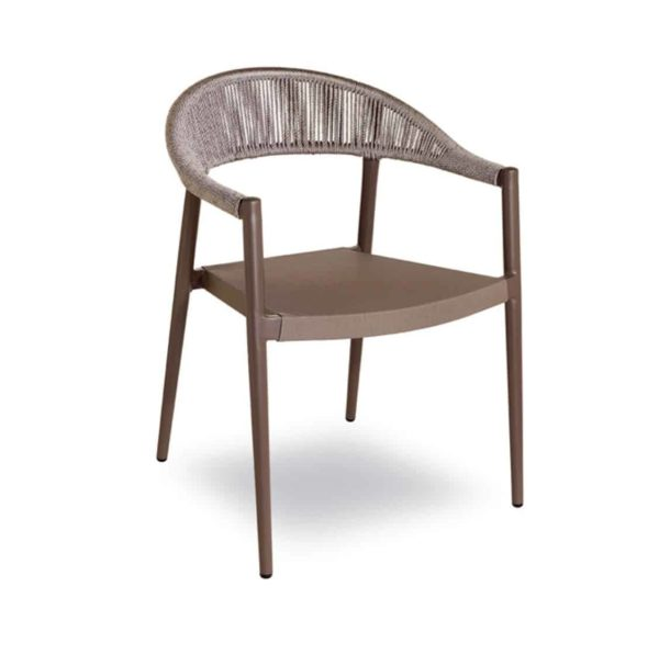 Praque woven outdoor chairs available from DeFrae Contract Furniture Taupe
