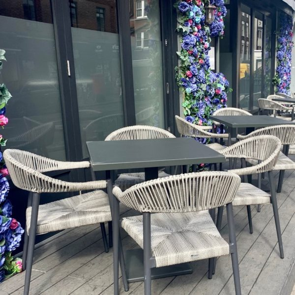 Praque woven outdoor chairs available from DeFrae Contract Furniture at XR London