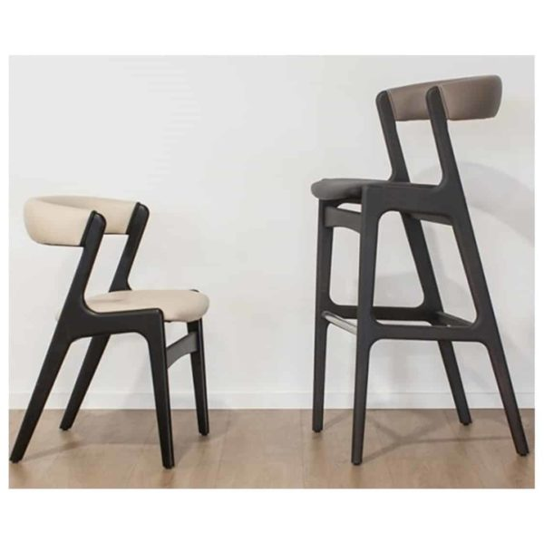 Randers Bar Stool Curved Back DeFrae Contract Furniture and Side Chair