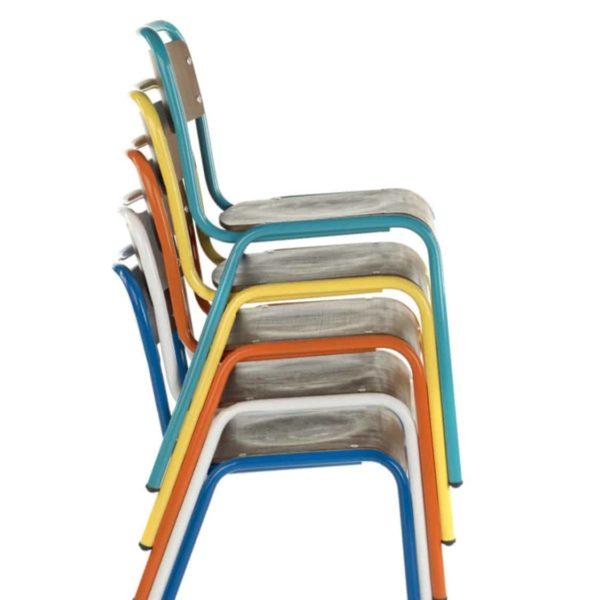 School Side Chair Stackable Wooden Seat Metal Frame DeFrae