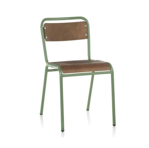 School Side Chair Stackable Wooden Seat Metal Frame DeFrae Green