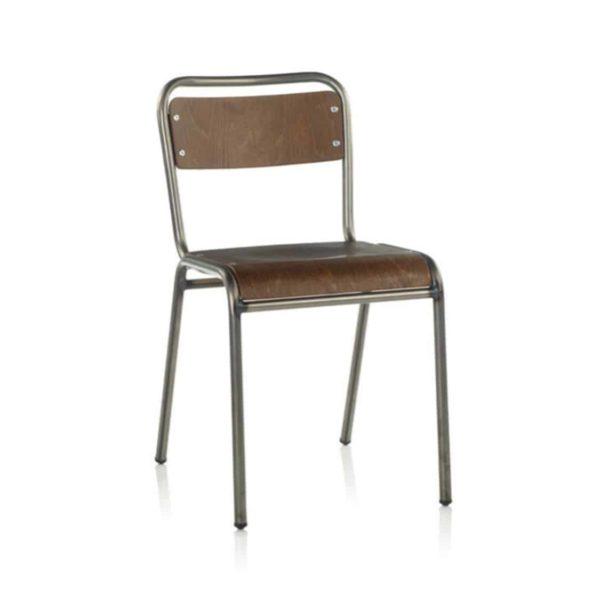 School Side Chair Stackable Wooden Seat Metal Frame DeFrae Gun Metal