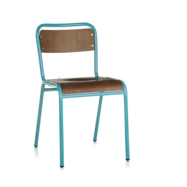School Side Chair Stackable Wooden Seat Metal Frame DeFrae Light Blue