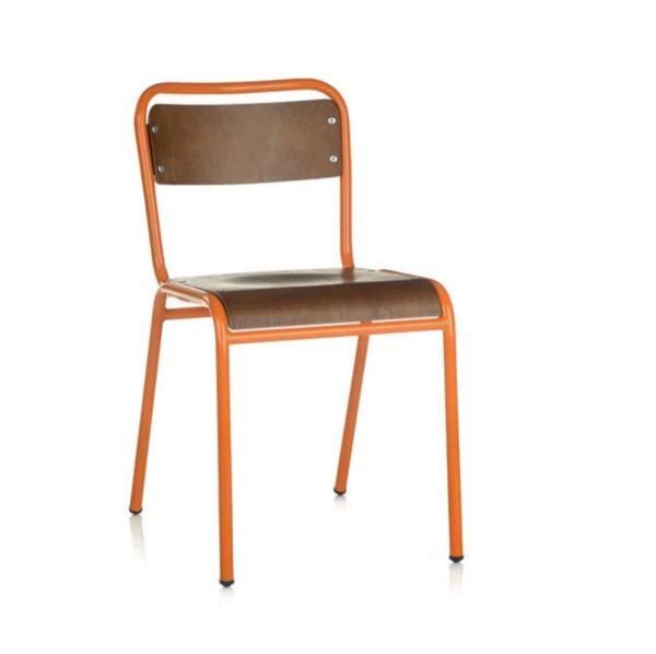 School Side Chair Stackable Wooden Seat Metal Frame DeFrae Orange