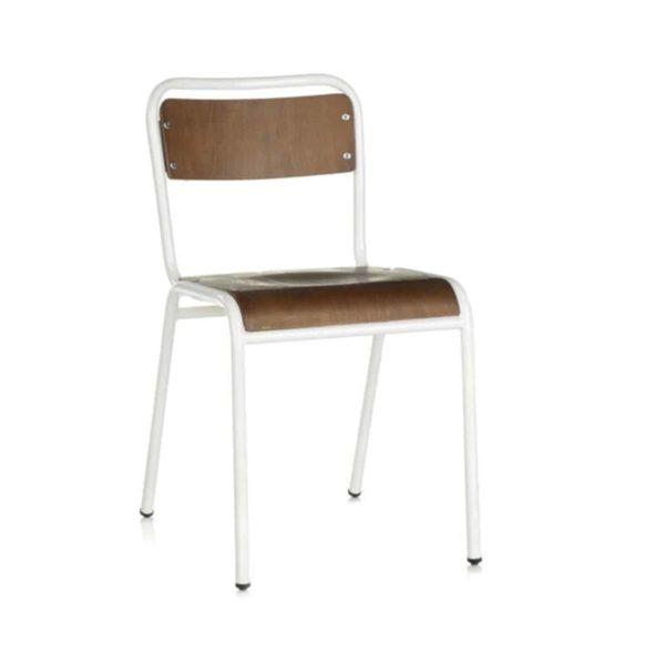 School Side Chair Stackable Wooden Seat Metal Frame DeFrae White