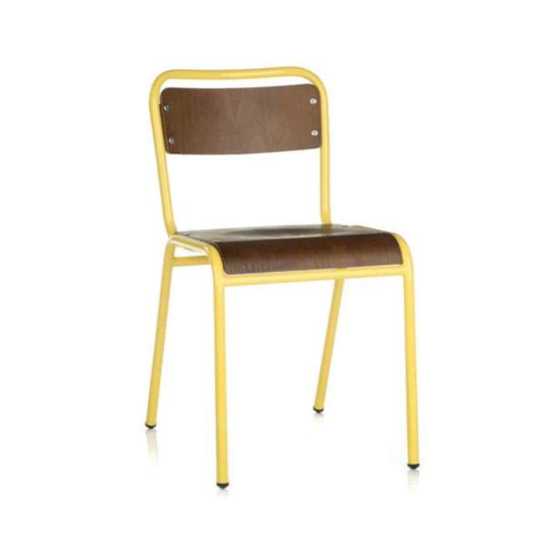 School Side Chair Stackable Wooden Seat Metal Frame DeFrae Yellow