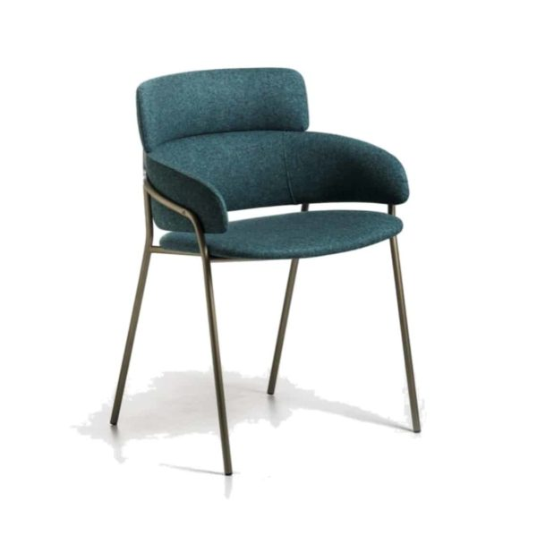 Strike Armchair DeFrae Contract Furniture Blue with Brass Metal Frame