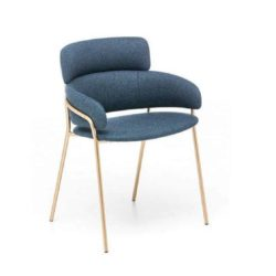 Strike Armchair DeFrae Contract Furniture Blue with Gold Metal Frame