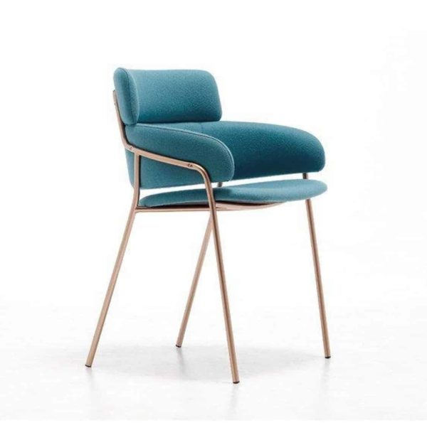 Strike Armchair DeFrae Contract Furniture Blue with Gold Metal Frame Side View
