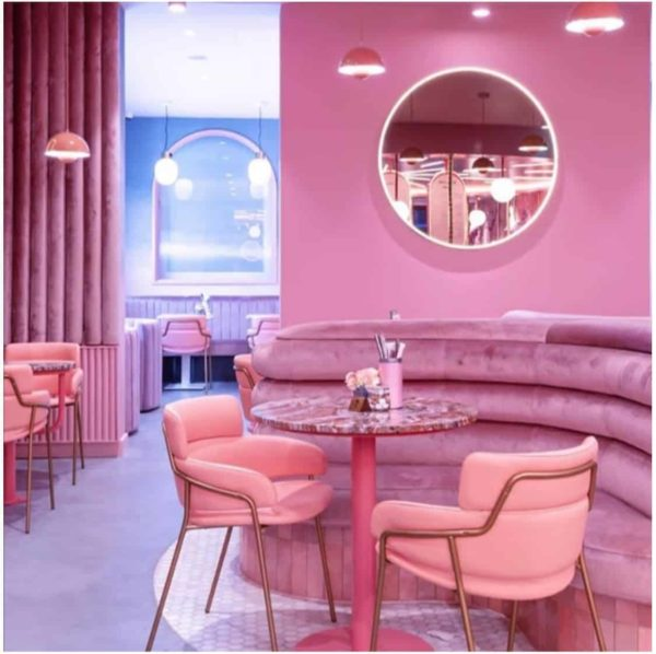 Strike Armchair DeFrae Contract Furniture Pink Leather with Brass Frame Elan Cafe London