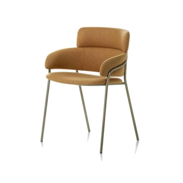 Strike Armchair DeFrae Contract Furniture Tan with Vintage Metal Frame
