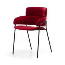 Strike Armchair Red Faux Leather Black Frame DeFrae Contract Furniture