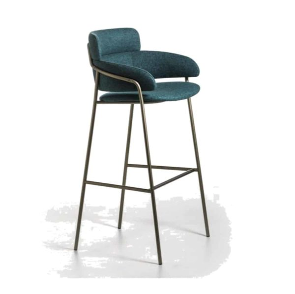 Strike Bar Stool DeFrae Contract Furniture Blue with Brass Metal Frame