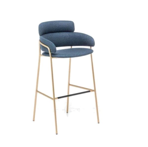 Strike Bar Stool DeFrae Contract Furniture Blue with Gold Metal Frame Side View