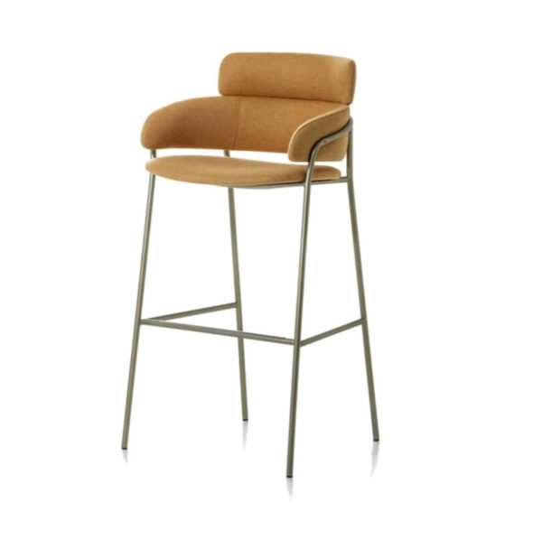 Strike Bar Stool DeFrae Contract Furniture Tan with Vintage Metal Frame