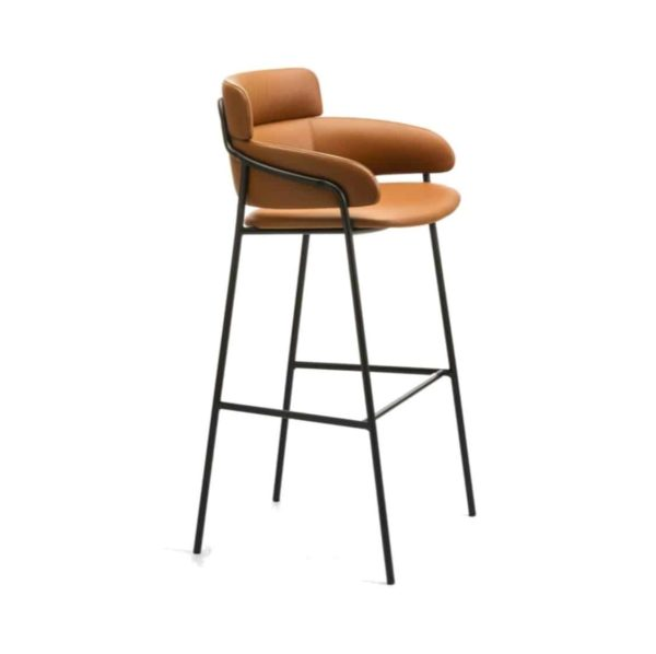 Strike Bar Stool DeFrae Contract Furniture Tan with Vintage Metal Frame Side View