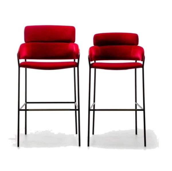 Strike Bar Stool Red Velvet and Black Frame DeFrae Contract Furniture and XL Bar Stool