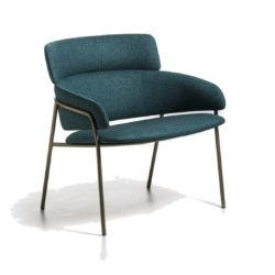 Strike Lounge Chair DeFrae Contract Furniture Blue with Brass Metal Frame