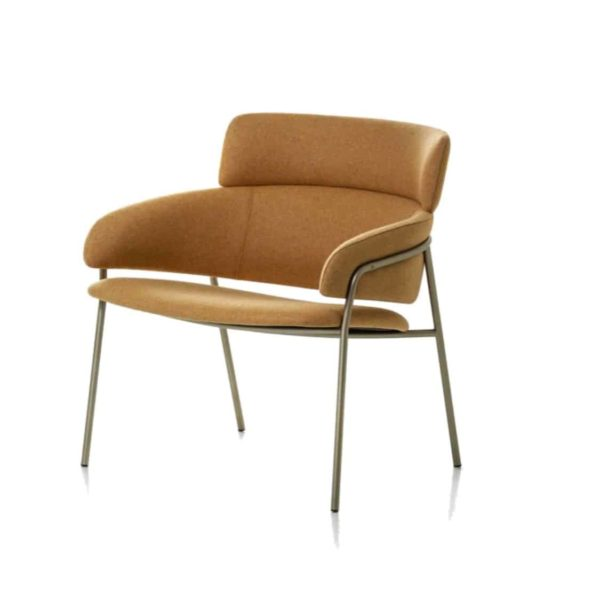Strike Lounge Chair DeFrae Contract Furniture Tan with Vintage Metal Frame