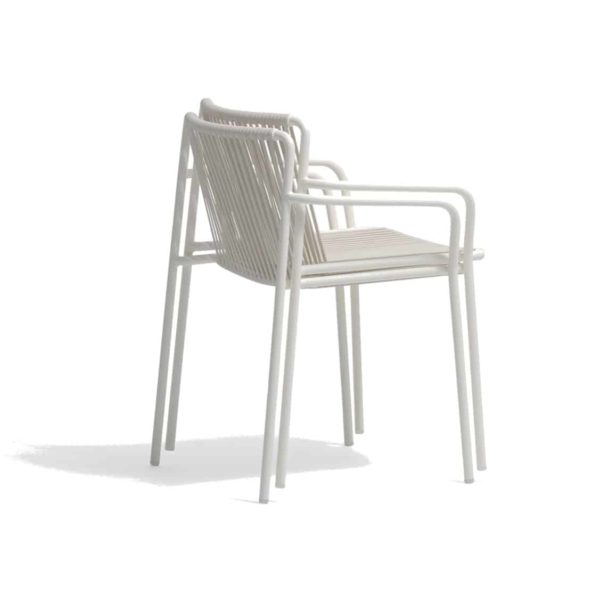Tribeca armchair Pedrali available from DeFrae Contract Furniture Outside Chair Cream Stackable