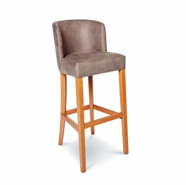 Valencia Bar Stool Uphosltered With Wooden Frame DeFrae Contract Furniture Tan