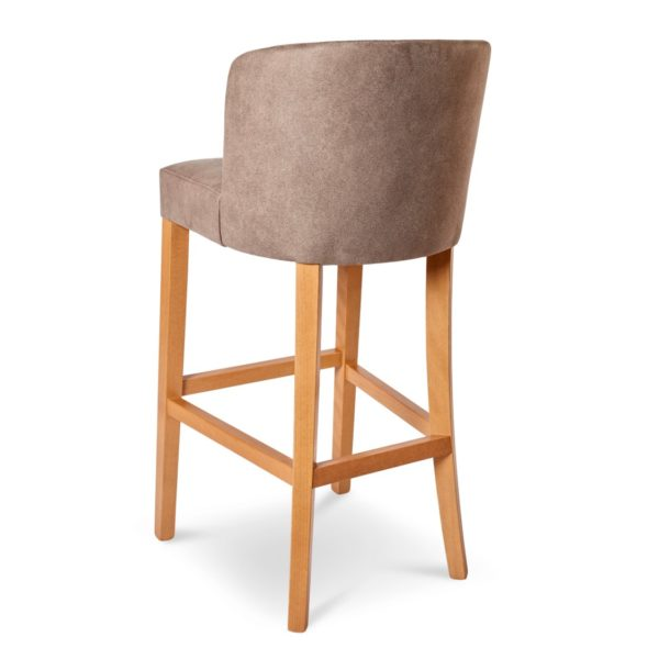 Valencia Bar Stool Uphosltered With Wooden Frame DeFrae Contract Furniture Tan Back View