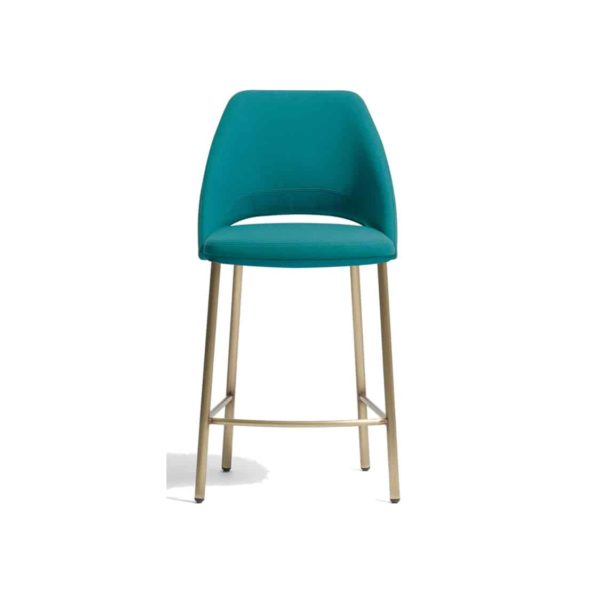 Vix bar stool with brass copper legs Vic Pedrali available from DeFrae Contract Furniture