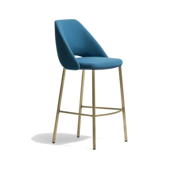 Vic Bar Stool with brass copper legs Pedrali available from DeFrae Contract Furniture Blue