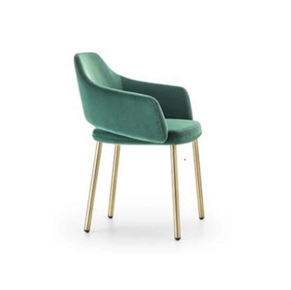 Vix armchair with brass copper legs Vic Pedrali available from DeFrae Contract Furniture Green