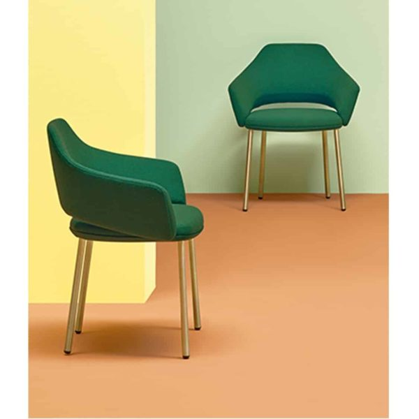 Vic Chair with brass copper legs Pedrali available from DeFrae Contract Furniture Green Range