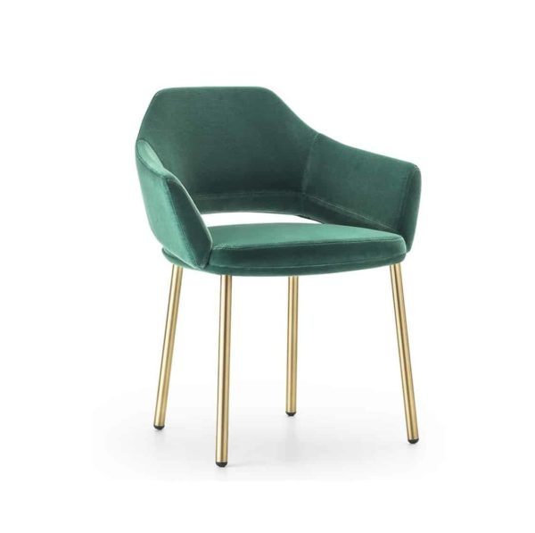 Vic Armchair with brass copper legs Pedrali available from DeFrae Contract Furniture Green