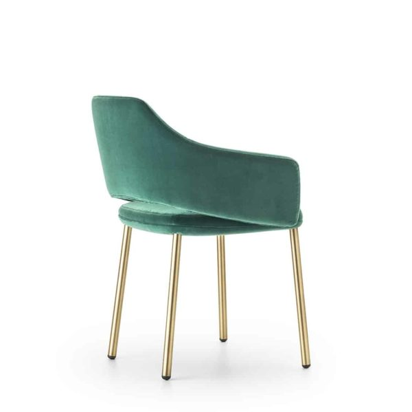 Vic Chair with brass copper legs Pedrali available from DeFrae Contract Furniture Green