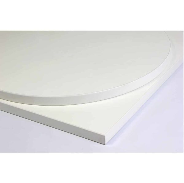 White premium laminate 25mm table top DeFrae Contract Furniture restaurant bar coffee shop hotel or cafe