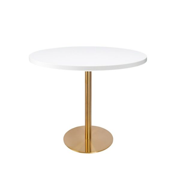 White premium laminate 25mm table top DeFrae Contract Furniture restaurant bar coffee shop hotel or cafe with Zeus brass round base