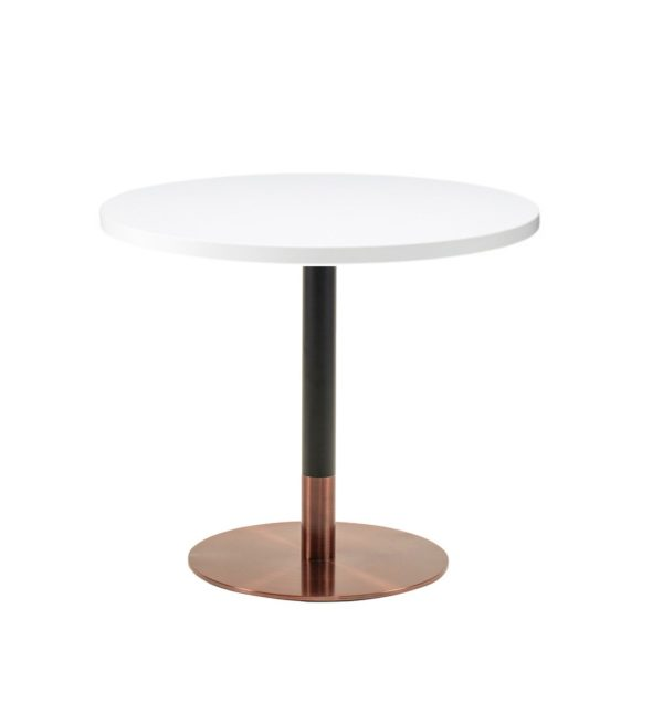 White premium laminate 25mm table top DeFrae Contract Furniture restaurant bar coffee shop hotel or cafe with Zeus rose gold round base