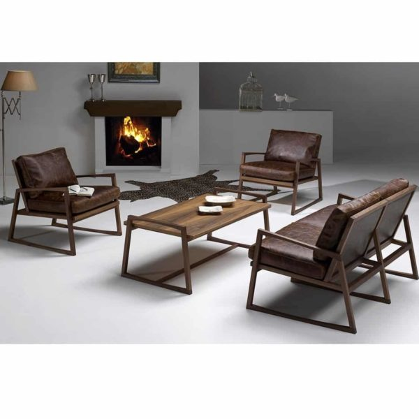 York lounge armchair brown leather wood frame contemporary